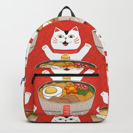 Liter of Ramen. Japanese soup and Manekineko cat. Backpack