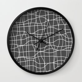Crosshatch, white lines on dark gray Wall Clock