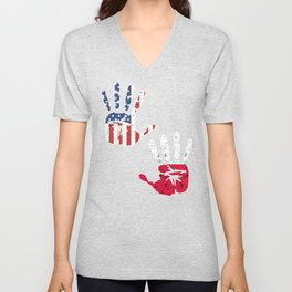 USA Poland Handprint & Flag | Proud Polish American Heritage, Biracial American Roots, Culture, Unisex V-Neck