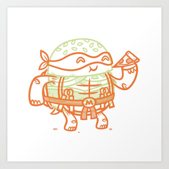 Cheeseburger Michelangelo Art Print