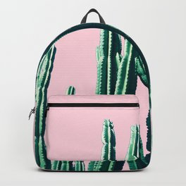 Green Cactus on Pink Backpack