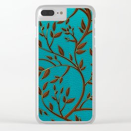 Teal Leather and Gold Tree Leaves pattern Clear iPhone Case