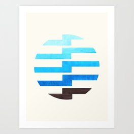 Minimalist Mid Century Circle Frame Cerulean Blue Zig Zag Colorful Lightning Bolt Geometric Pattern Art Print
