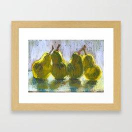 Pears on a table #2 Framed Art Print