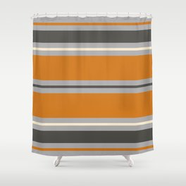 Minimal Abstract Vintage Cream Orange Grey 01 Shower Curtain