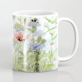 Floral Watercolor Botanical Cottage Garden Flowers Bees Nature Art Coffee Mug