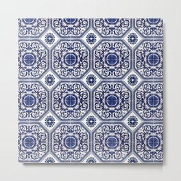 Portuguese Tiles Azulejos Blue and White Pattern Metal Print