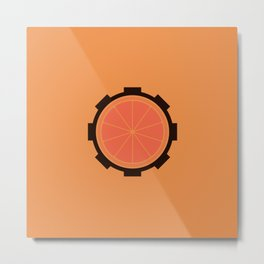 Orange Clockwork Gear Metal Print