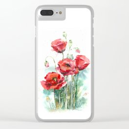 Watercolor red poppies flowers Clear iPhone Case