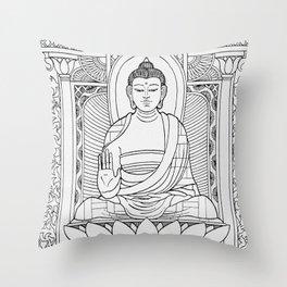 Buddha Black & White Throw Pillow