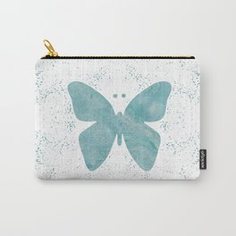 Decorative White Overlay Turquoise Marble Buttefly Carry-All Pouch