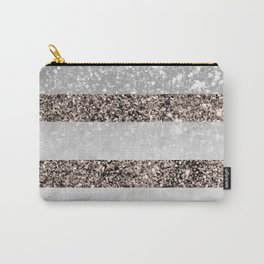 White Marble Rose Gold Glitter Stripe Glam #2 #minimal #decor #art #society6 Carry-All Pouch
