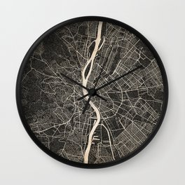 budapest map ink lines Wall Clock