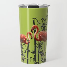 Flamingo Bamboo Leaves green Travel Mug