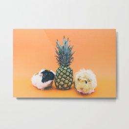 Pineapple Pigs Metal Print