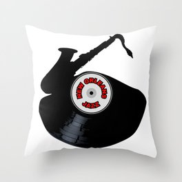 New Orleans Jazz Music Silhouette Record Throw Pillow