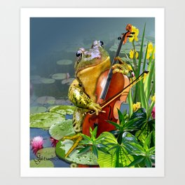 Realistic Print of Frog Playing Cello Art Print