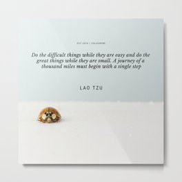 Lao Tzu Quote | A journey of a thousand miles must begin with a single step Metal Print