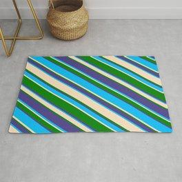 Deep Sky Blue, Bisque, Green & Dark Slate Blue Colored Lines/Stripes Pattern Rug