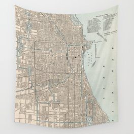 Vintage Map of Chicago (1893) Wall Tapestry