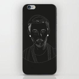 Woody white on black iPhone Skin