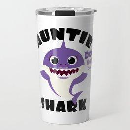 Auntie Shark design Gift - Cute Baby Shark Matching Family Travel Mug