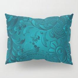 Metallic Teal Floral Pattern Pillow Sham
