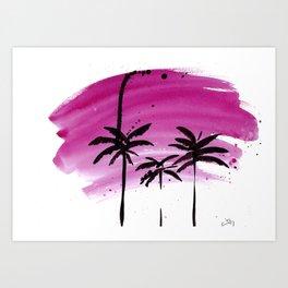 Magenta palm trees Art Print