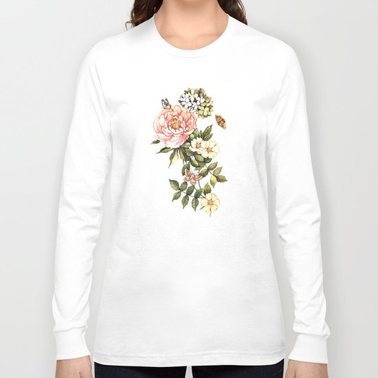 Vintage floral watercolor background Long Sleeve T-shirt