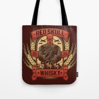 whisky Tote Bags featuring Red Whisky by Corey Courts