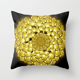 """Gold"" Dahlia Flower Special Edition 1 (Black Back) Throw Pillow"