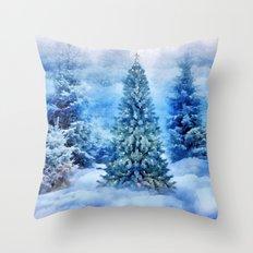 Christmas tree scene Throw Pillow
