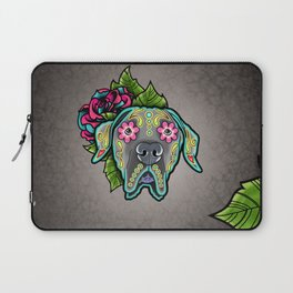 Great Dane with Floppy Ears - Day of the Dead Sugar Skull Dog Laptop Sleeve