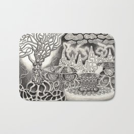BioTechnological DNA Tree and Abstract Cityscape Bath Mat