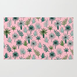 Palm tropical illustration by andrea lauren palm leaves palm trees desert island Rug