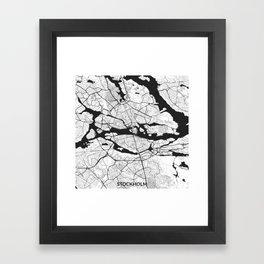 Stockholm Map Gray Framed Art Print