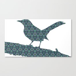 Grey Jay Spruce Tree patterned Canvas Print