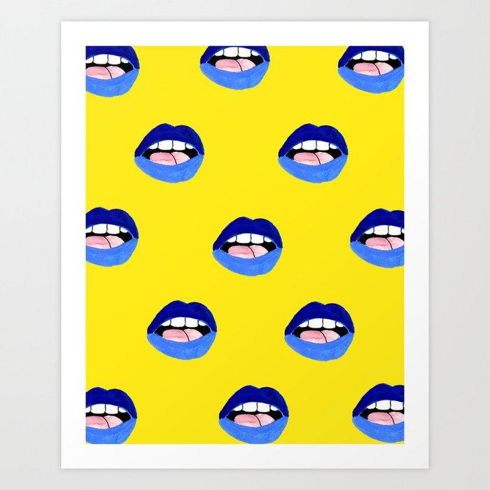 Blue Lips Art Print