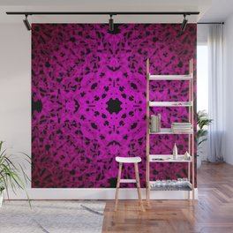 Royal ornament of pink spots and velvet blots on black. Wall Mural