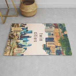 Twin Cities | Minneapolis and Saint Paul Minnesota Skylines | City Collage Rug