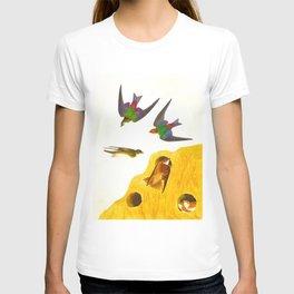 Bank Swallow and Violet-green Swallow John James Audubon Scientific Vintage Illustrations Of America T-shirt