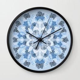Crystals Succulents Mandala BLUE Wall Clock