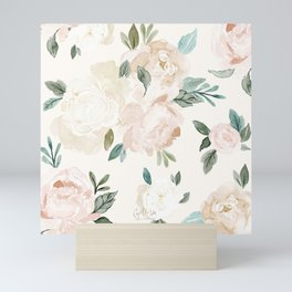 Vintage Blush Floral - softest pastel Mini Art Print