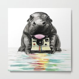 Baby Hippo Metal Print