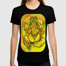 Lord Ganesha on Yellow Spiral T-shirt