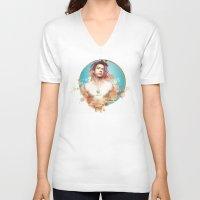 robert downey jr V-neck T-shirts featuring Robert Downey Jr. by Rene Alberto