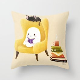 Ghost reading Throw Pillow