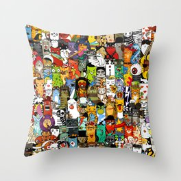 Funny Characters Collage — Culture & Science By Cats Throw Pillow