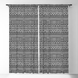 Mud Cloth on Gray Blackout Curtain