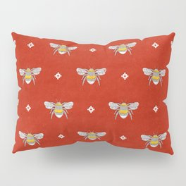 Bumblebee Stamp on Red Pillow Sham